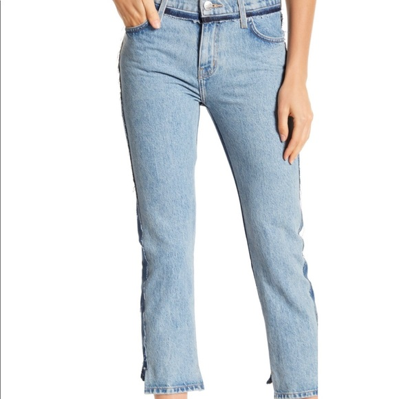 Current/Elliott Denim - Current/Elliott High Waist Straight Two-Tone Jeans
